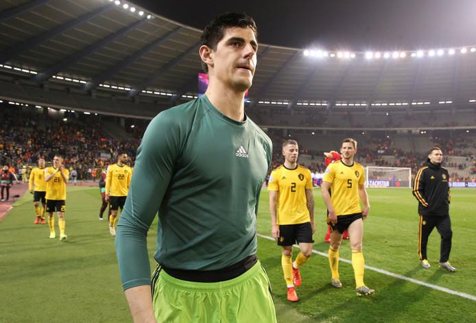 Thibaut Courtois na afloop van België - Rusland (3-1) gisteravond.