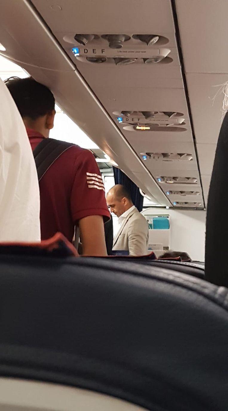 Martínez op de terugvlucht van Rome Fiumicino naar Zaventem.
