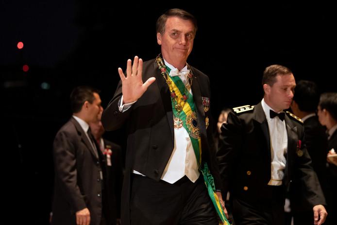 De Braziliaanse president Jair Bolsonaro arriveert.