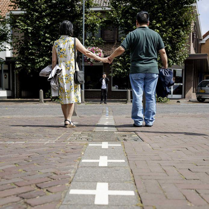Een van de vele grenspunten tussen Baarle-Nassau en Baarle-Hertog.