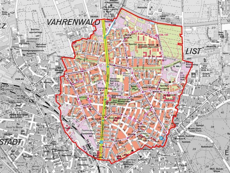 Het geëvacueerde deel van de stad Hannover, de wijk Vahrenwald. Beeld Stadt Hannover