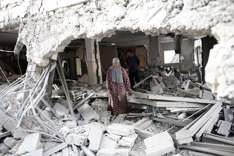 Het gesloopte huis van een van de militanten. Beeld afp