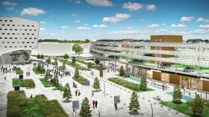 Impressie van het nieuwe multifunctionele gebouw bij Eindhoven Airport.