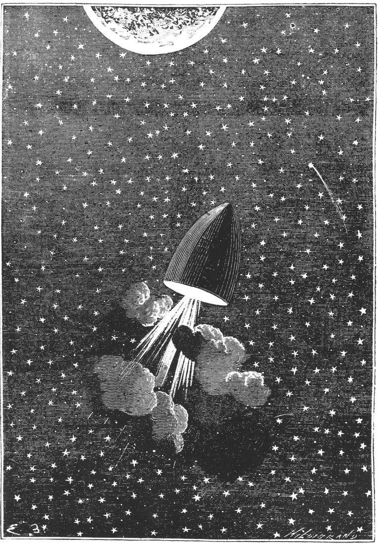 Illustratie uit Jules Vernes De reis naar de maan. Beeld Getty