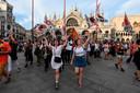 De protestanten willen een verbod op grote cruiseschepen in de waters van Venetië.
