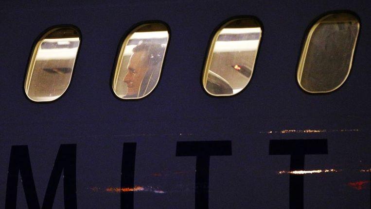 Vliegtuig van Mitt Romney bij aankomst in Boston. Beeld reuters