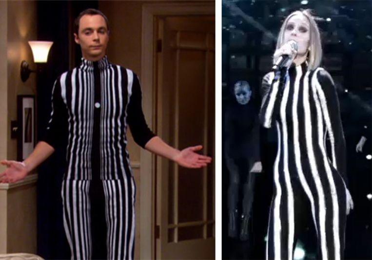 Links: Sheldon uit 'The Big Bang Theory' verkleed als het Doppler-effect; Rechts: Laura in 'The Voice'