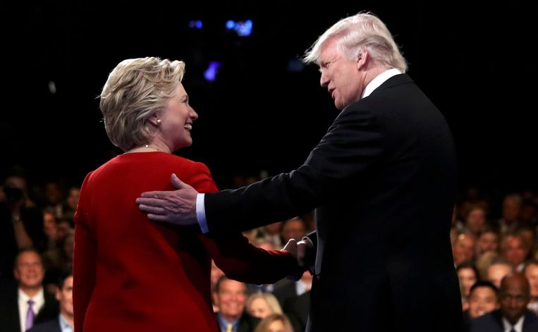 Clinton en Trump tijdens het debat Beeld Pool / Reuters