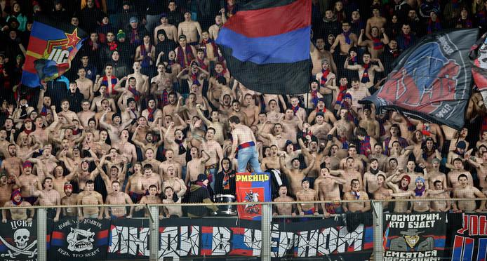 Fans van CSKA Moskou.