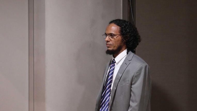 Ahmad Al-Faqi Al-Mahdi komt aan bij de rechtbank in Den Haag. Beeld anp