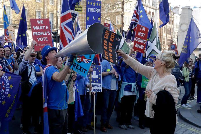 Voor- en tegenstanders van de brexit. AP Photo/Matt Dunham