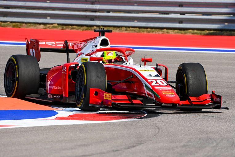 Mick Schumacher dit seizoen in de Formule 2 in Sochi voor Prema Racing.
