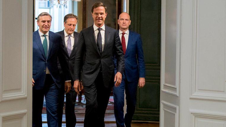Sybrand Buma (CDA), Gert-Jan Segers (ChristenUnie), Mark Rutte (VVD) en Alexander Pechtold (D66) Beeld anp