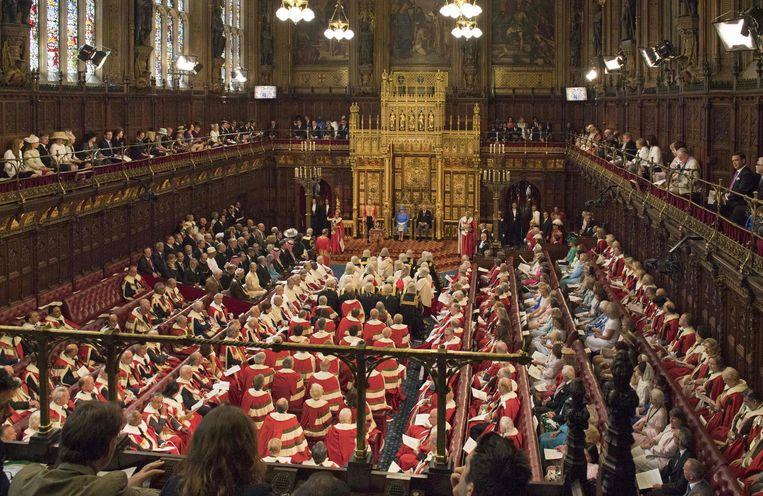 Leden van het Britse Hogerhuis tijdens de opening van het parlement Beeld ANP