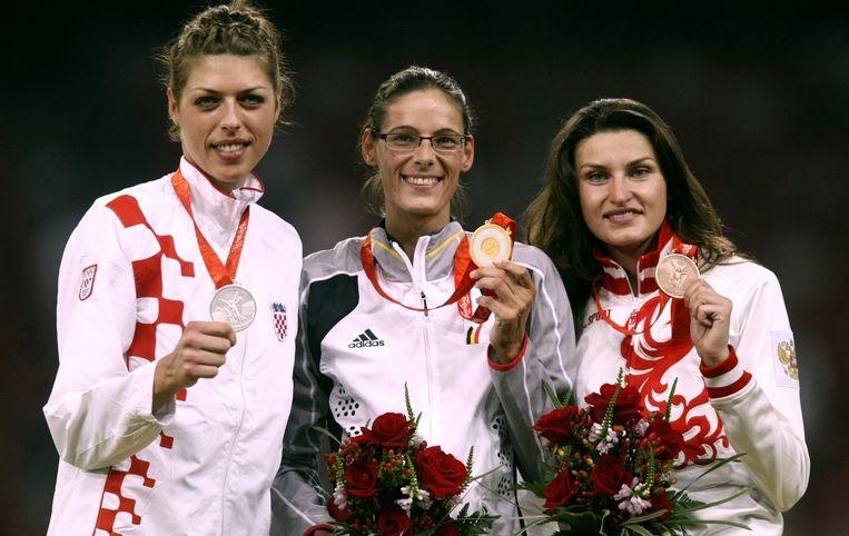 Het podium van Peking 2008, met van links naar rechts Blanka Vlasic, Tia Hellebaut en Anna Chicherova.
