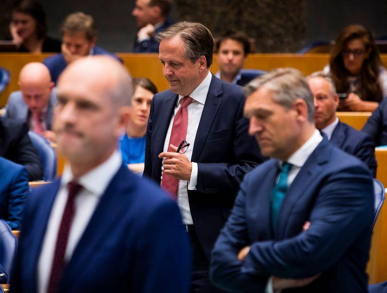 Politiek leiders van drie coalitieleden, van links naar rechts: Gert-Jan Segers (ChristenUnie), Alexander Pechtold (D66) en Sybrand Buma (CDA). Beeld Freek van den Bergh