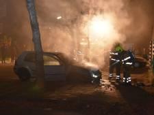 Auto in brand, eigenaar probeert zijn voertuig vergeefs te blussen