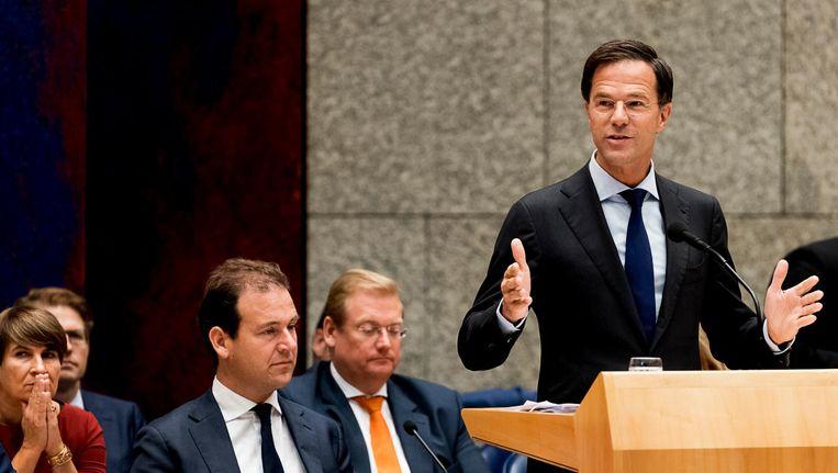 Premier Mark Rutte in de plenaire zaal tijdens de voortzetting van de Algemene Politieke Beschouwingen, die traditioneel volgen op Prinsjesdag. Beeld ANP