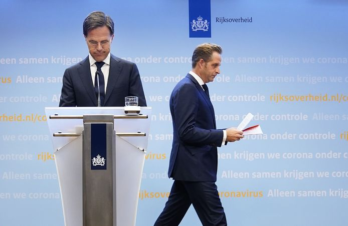 Prime Minister Mark Rutte and Minister Hugo de Jonge (Health, Welfare and Sport) during a press conference about the current state of affairs regarding the corona virus in the Netherlands.