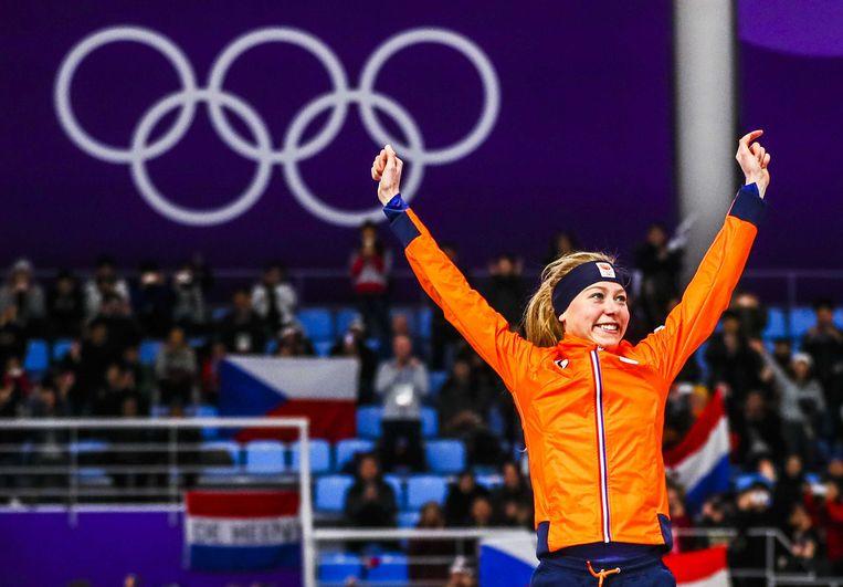 Esmee Visser veroverde vrijdag in de Olympische ijshal goud op de vijf kilometer. Beeld ANP