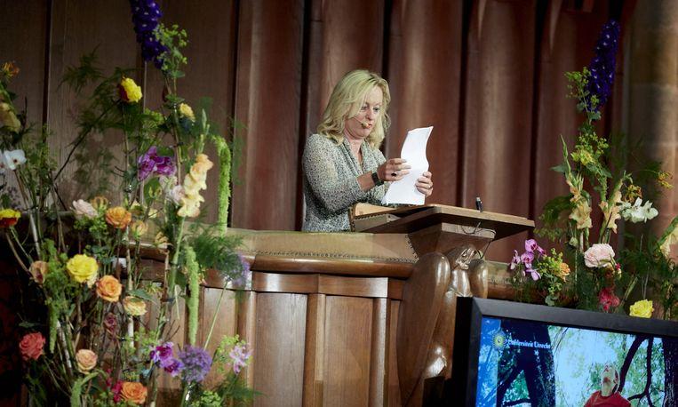 Minister Jet Bussemaker van Onderwijs Cultuur en Wetenschap tijdens haar toespraak in de Domkerk bij de opening van het academisch jaar. Beeld anp