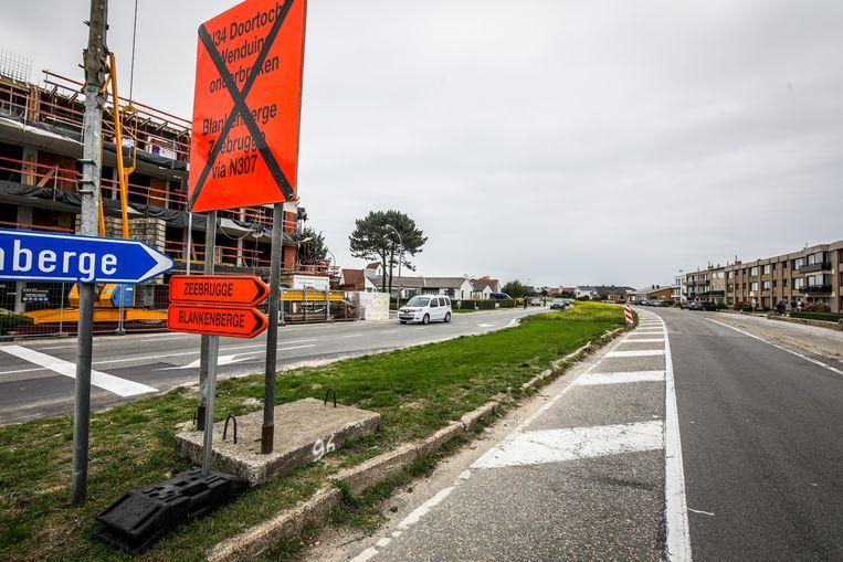 Ter hoogte van de Ringlaan in Wenduine zijn al een tijdje wegenwerken aan de gang.