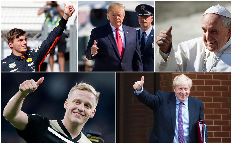 Van links naar rechts: F1-coureur Max Verstappen, president Donald Trump, paus Franciscus, voetballer Donny van de Beek en premier Boris Johnson.