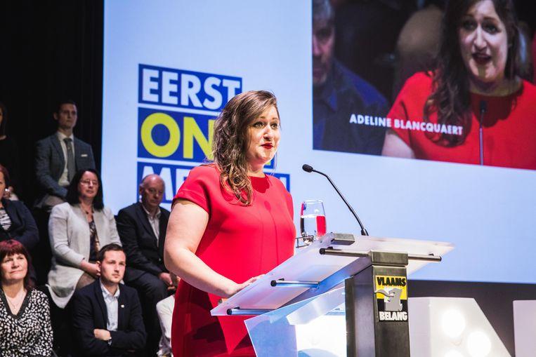 Adeline Blancquert mocht de menigte toespreken op het VB-congres zaterdag.