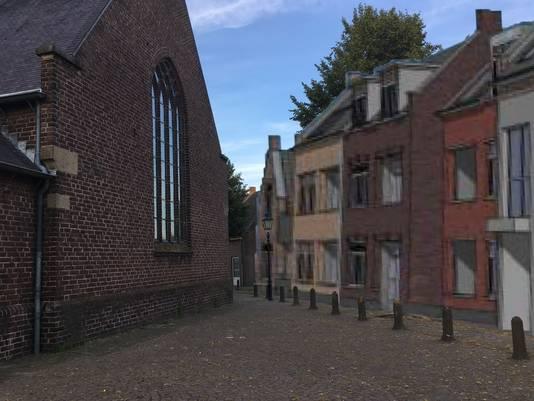 Bezwaarmakers vinden dat de nieuwbouw van het Van Bommelhof te dicht tegen de Moergestelse kerk aan komt.