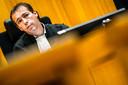 Politierechter Scheele, tijdens de rechtszaak van de stalbezetters in Den Bosch.