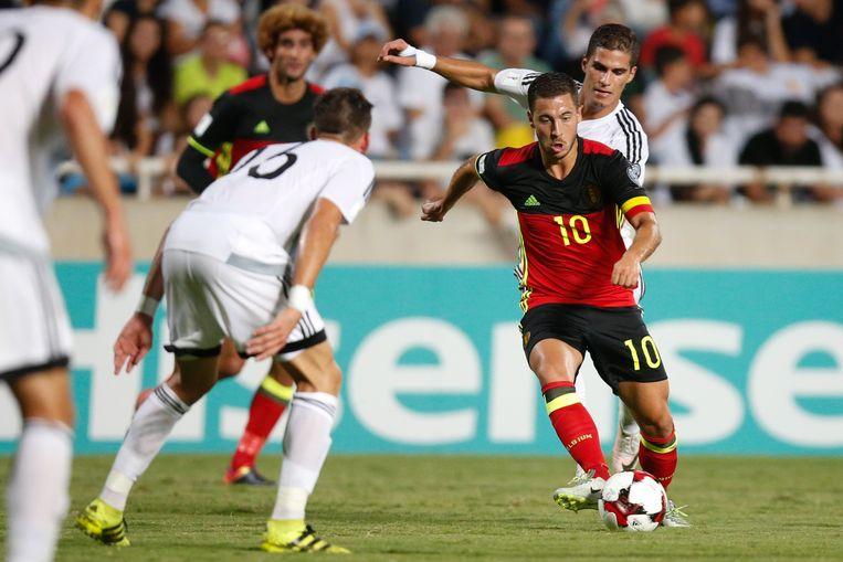 De strateeg van Chelsea was bij de drie Belgische goals betrokken en versierde ook een penalty voor de 0-4.
