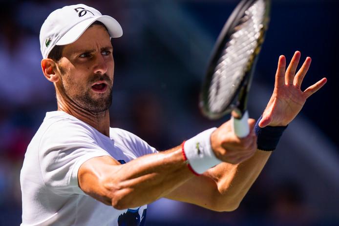 Novak Djokovic tijdens de training in New York.