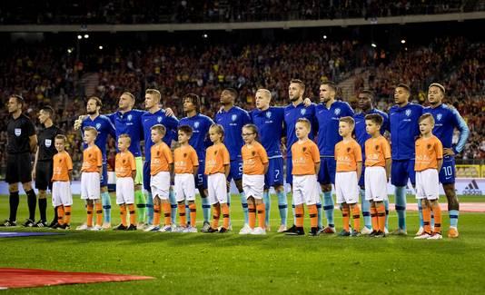 Het Nederlands elftal tijdens de oefeninterland in het Koning Boudewijnstadion tegen België