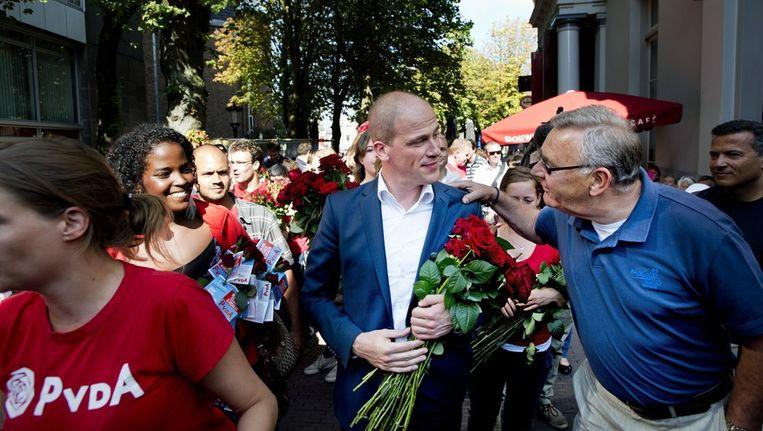 Diederik Samsom op campagne in Utrecht, gisteren Beeld anp