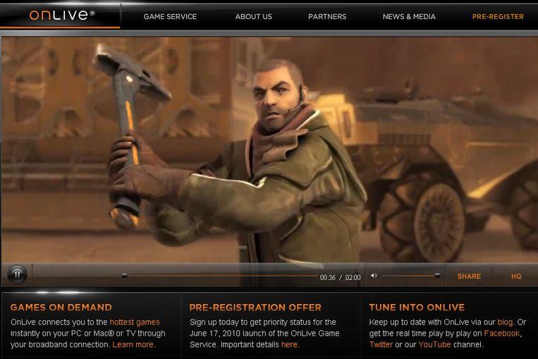 Screenshot onlive.com Beeld