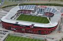 Een luchtfoto van de schade aan het dak van het AFAS Stadion nadat dit instortte.