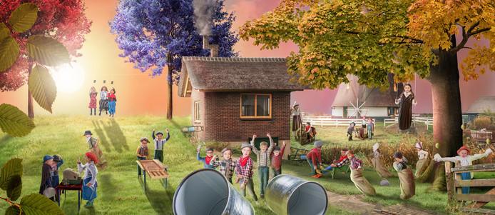 Klassenfoto met thema 'Vroeger'.