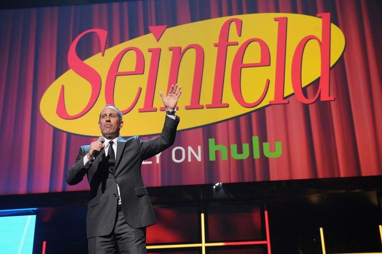 Jerry Seinfeld tijdens de presentatie van het nieuwe Hulu-aanbod in New York Beeld getty