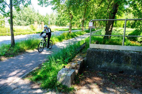 Het wandel- en fietspad langs de Vliet ter hoogte van de Kleidaallaan in Hemiksem.