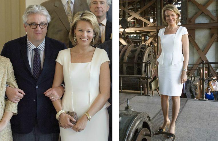 Het bewuste kleed van Zara van 49,99 euro. Bij een lunch op het kasteel van Laken, mei 2013 (links) / Op economische missie in Turkije, oktober 2012 (rechts)
