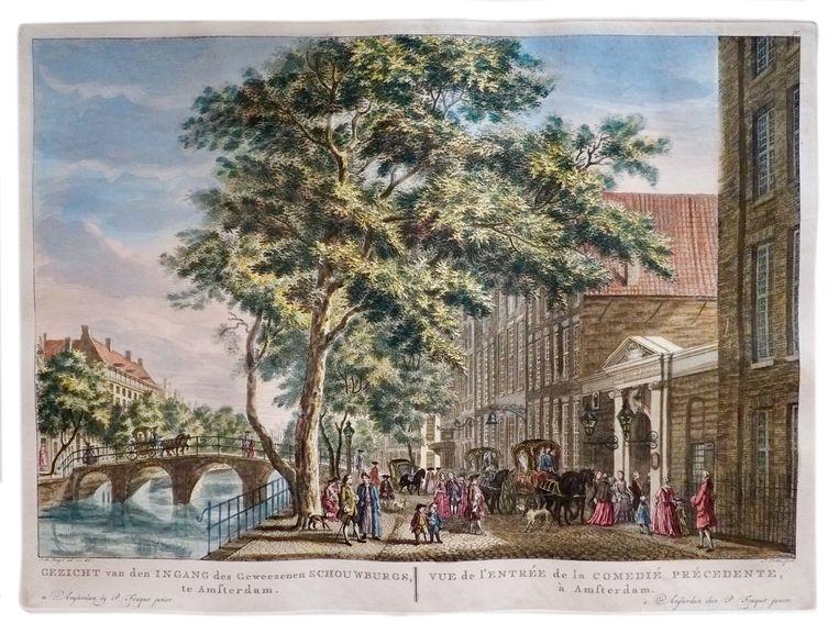 Een gravure toont het poortje van de Amsterdamse schouwburg, waar zijn spektakelstukken werden opgevoerd. Beeld UvA