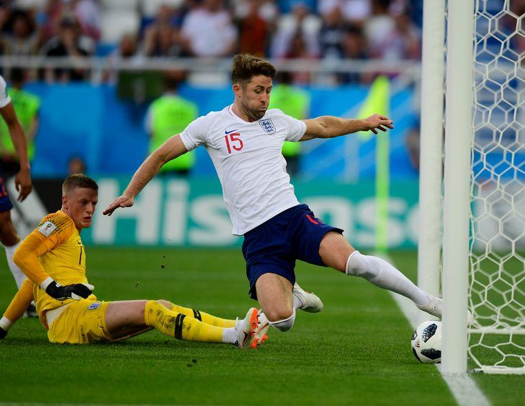 Gary Cahill veegde in de groepswedstrijd tegen België nog een bal van de lijn.