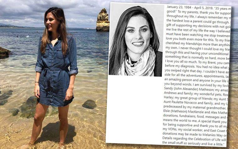 Bailey Jean Matheson (35) uit Lakeside in Nova Scotia stierf eerder deze maand.