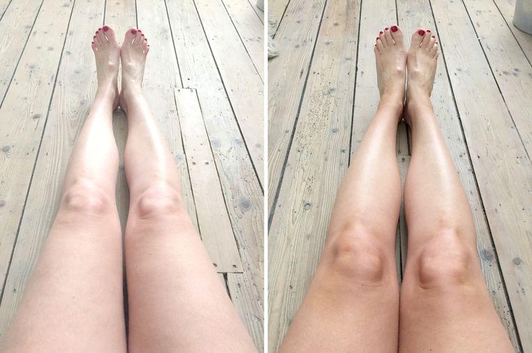 Chef Eva testte de Lancaster Self Tan Beauty In Shower Body Lotion links: voor - rechts: na