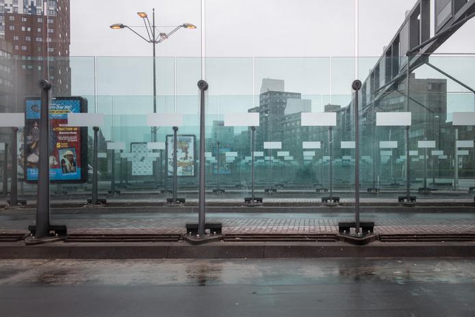 Het Nijmeegse busstation tijdens een eerdere staking van buschauffeurs.