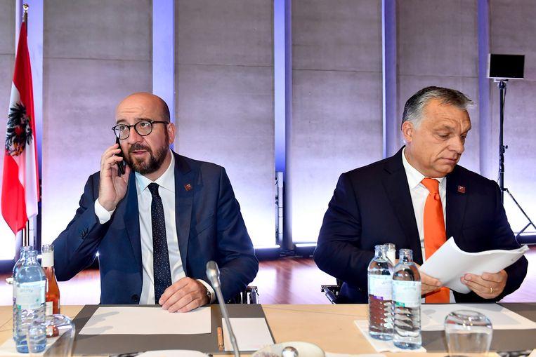 Premier Michel, hier naast de Hongaarse premier Viktor Orban.