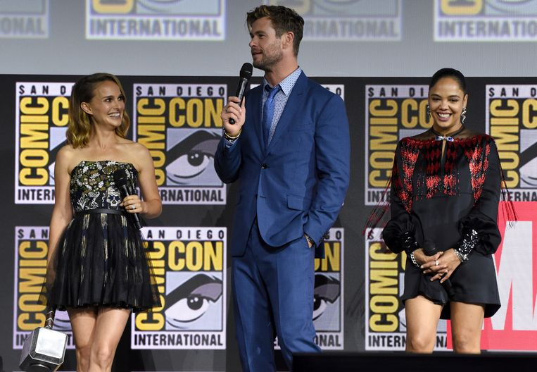 Natalie Portman, Chris Hemsworth en Tessa Thompson.