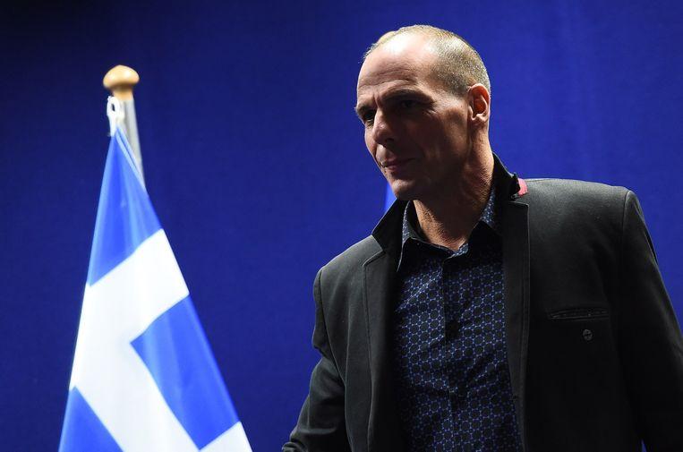 Yanis Varoufakis vlak na de vergadering.