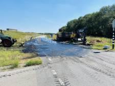 Vrachtwagen verliest lading slib bij Boxmeer; oprit A73 dicht