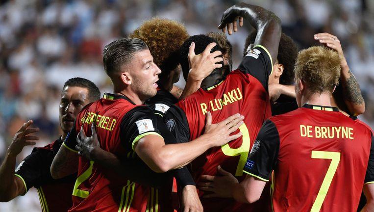 Opluchting in Nicosia na de opener van Lukaku. België kan onder een rustig gesternte bouwen naar het WK 2018 toe.